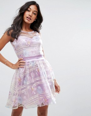photo Organza Floral Dress with Satin Sash by Zibi London, color Lilac - Image 1