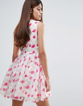 photo Organza Floral Printed Dress by Zibi London, color Fuchsia - Image 2
