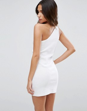 photo One Shoulder Mini Dress by ASOS, color White - Image 2