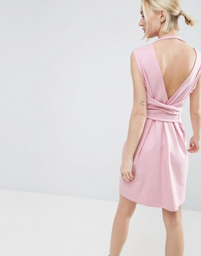 photo Sleeveless Mini Sweat Dress with Low Back and Wrap Waist by ASOS, color Bubblegum Pink - Image 2