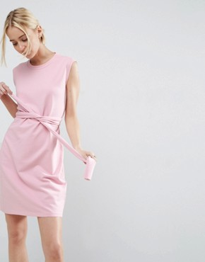 photo Sleeveless Mini Sweat Dress with Low Back and Wrap Waist by ASOS, color Bubblegum Pink - Image 1