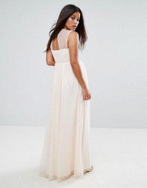 photo Floral Embroidered Maxi Dress with Tulle Skirt by Little Mistress Maternity, color Nude - Image 2