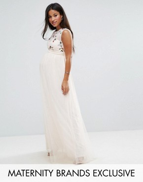 photo Floral Embroidered Maxi Dress with Tulle Skirt by Little Mistress Maternity, color Nude - Image 1