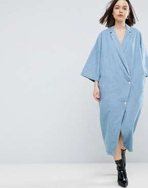 photo Buttoned Kimono Denim Dress in Light Blue Wash by ASOS WHITE, color Blue - Image 1