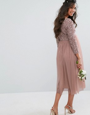 photo 3/4 Sleeve Midi Dress with Delicate Sequin and Tulle Skirt by Maya Maternity, color Mink - Image 2
