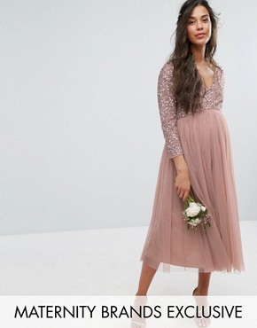 photo 3/4 Sleeve Midi Dress with Delicate Sequin and Tulle Skirt by Maya Maternity, color Mink - Image 1