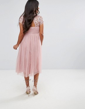 photo Short Sleeve Lace Bodice Dress with Tulle Skirt by Little Mistress Maternity, color Pink - Image 2