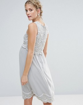 photo Embellished Scallop Bodice and Hem Midi Dress by Maya Maternity, color Grey - Image 2