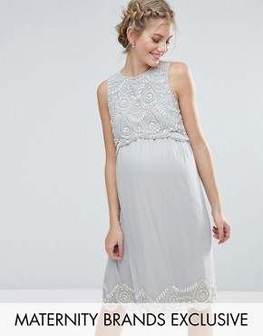 photo Embellished Scallop Bodice and Hem Midi Dress by Maya Maternity, color Grey - Image 1