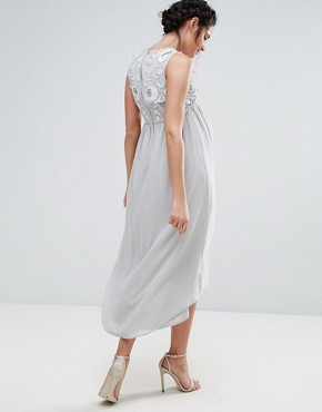 photo Sleeveless Embellished Bodice Dress with Hi Lo Hem by Maya Maternity, color Grey - Image 2