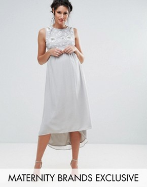 photo Sleeveless Embellished Bodice Dress with Hi Lo Hem by Maya Maternity, color Grey - Image 1