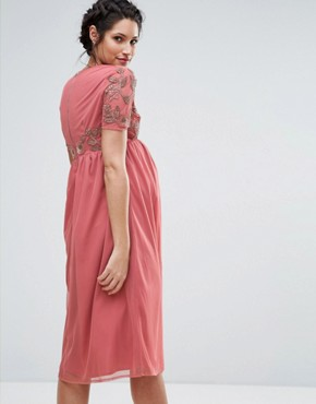 photo V-Neck Embellished Bodice Dress by Maya Maternity, color Rose - Image 2