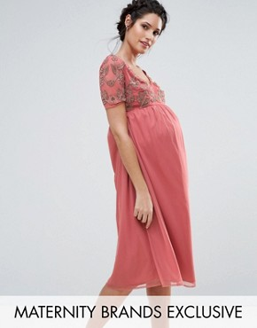 photo V-Neck Embellished Bodice Dress by Maya Maternity, color Rose - Image 1