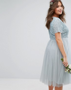 photo Cap Sleeve V-Neck Midi Dress with Delicate Sequin and Tulle Skirt by Lovedrobe Luxe, color Ice Blue - Image 2