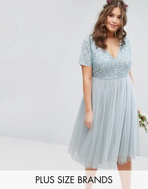 photo Cap Sleeve V-Neck Midi Dress with Delicate Sequin and Tulle Skirt by Lovedrobe Luxe, color Ice Blue - Image 1