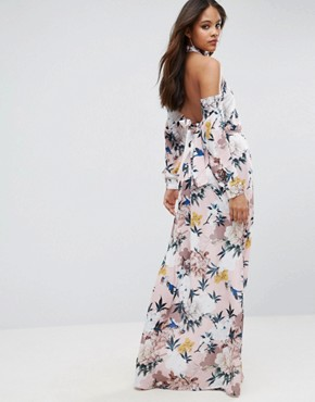 photo Black High Neck Cold Shoulder Maxi Dress with Pleated Waist Detail in Large Scale Floral Print by TTYA, color Multi - Image 2