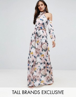 photo Black High Neck Cold Shoulder Maxi Dress with Pleated Waist Detail in Large Scale Floral Print by TTYA, color Multi - Image 1