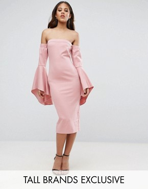 photo Black Off Shoulder Midi Dress with Exaggerated Fluted Sleeve Detail by TTYA, color Nude - Image 1