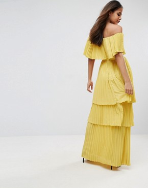 photo Black Off Shoulder Pleated Ruffle Maxi Dress by TTYA, color Yellow - Image 2