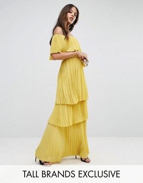 photo Black Off Shoulder Pleated Ruffle Maxi Dress by TTYA, color Yellow - Image 1