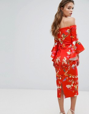 photo Bardot Midi Dress with Frill Sleeve in Red Floral by True Violet, color Red Floral - Image 2