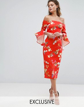 photo Bardot Midi Dress with Frill Sleeve in Red Floral by True Violet, color Red Floral - Image 1