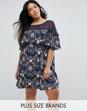 photo Swing Dress in Floral Print with Mesh Insert by Rage Plus, color Multi - Image 1
