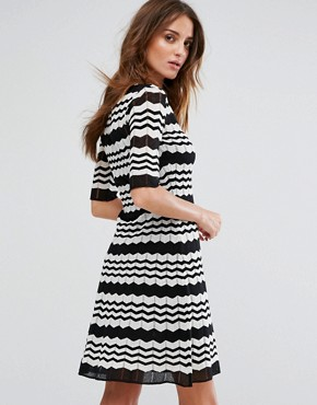 photo Short Sleeve A-Line Wool Mix Knit Dress by M Missoni, color Black White - Image 2