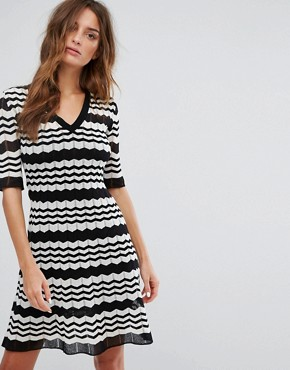 photo Short Sleeve A-Line Wool Mix Knit Dress by M Missoni, color Black White - Image 1