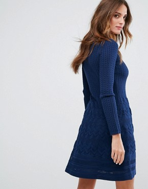 photo Long Sleeved V-Neck Wool Mix Knit Dress by M Missoni, color Navy - Image 2