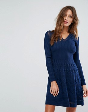 photo Long Sleeved V-Neck Wool Mix Knit Dress by M Missoni, color Navy - Image 1