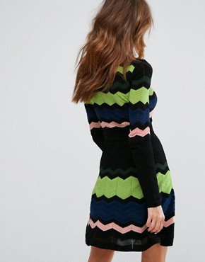 photo Long Sleeved Zig Zag Wool Mix Knitted Dress by M Missoni, color Black Multi - Image 2