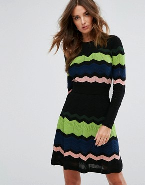 photo Long Sleeved Zig Zag Wool Mix Knitted Dress by M Missoni, color Black Multi - Image 1