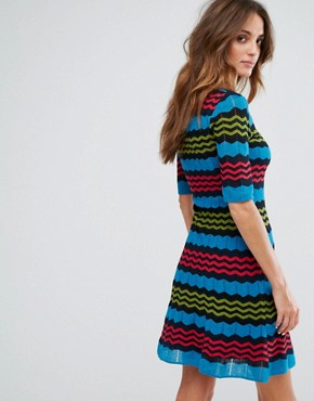 photo Short Sleeve A-Line Wool Mix Knit Dress by M Missoni, color Blue Multi - Image 2