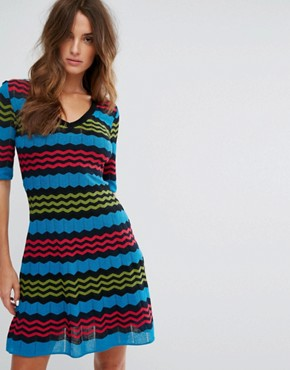 photo Short Sleeve A-Line Wool Mix Knit Dress by M Missoni, color Blue Multi - Image 1