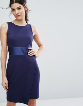 photo Bow Back Midi Dress with Wrap Skirt by Closet London, color Navy - Image 2