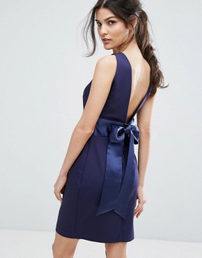 photo Bow Back Midi Dress with Wrap Skirt by Closet London, color Navy - Image 1