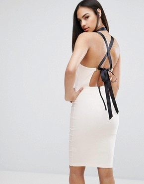 photo Sexy Pencil Dress with Lace Up Back by Vesper, color Nude Black - Image 1