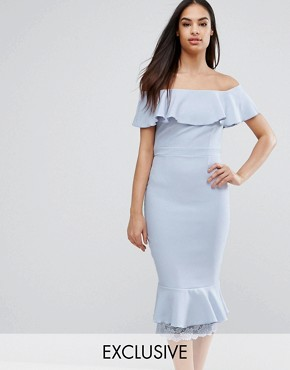 photo Off Shoulder Frill Pencil Dress with Lace Insert by Vesper, color Cool Lilac - Image 1