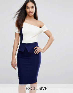 photo Structured Origami Pencil Dress in Contrast by Vesper, color Navy Cream - Image 1