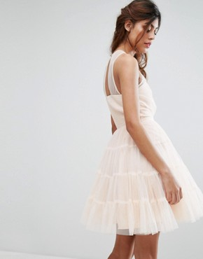 photo Tulle Mini Dress in Tiers by Little Mistress, color Nude - Image 2