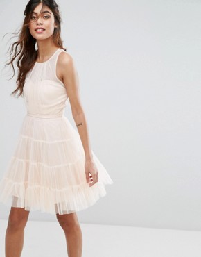 photo Tulle Mini Dress in Tiers by Little Mistress, color Nude - Image 1