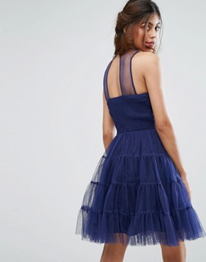 photo Tulle Mini Dress in Tiers by Little Mistress, color Navy - Image 2