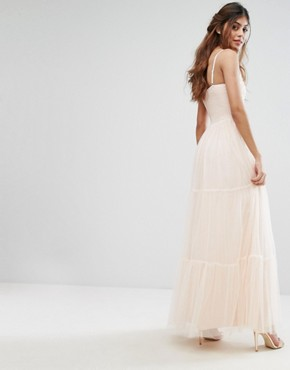 photo Tulle Maxi Dress in Tiers by Little Mistress, color Nude - Image 2