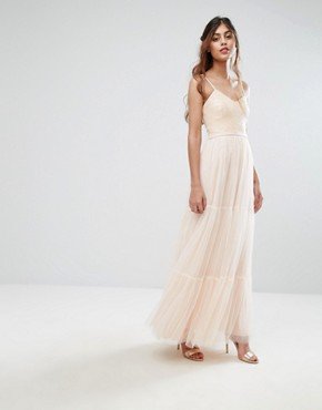 photo Tulle Maxi Dress in Tiers by Little Mistress, color Nude - Image 1