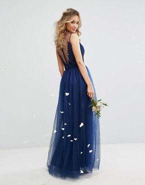 photo Embroidered Tulle Maxi Dress with Button Back by Chi Chi London, color Navy - Image 2
