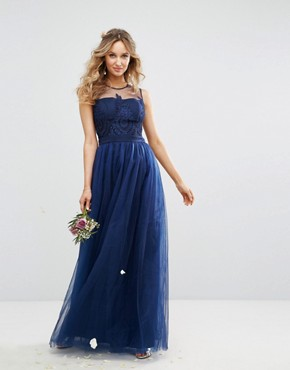 photo Embroidered Tulle Maxi Dress with Button Back by Chi Chi London, color Navy - Image 1