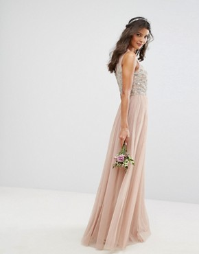 photo Embellished Sweetheart Maxi Dress with Tulle Skirt by Maya, color Mink - Image 2
