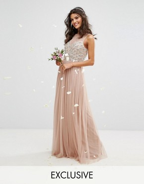 photo Embellished Sweetheart Maxi Dress with Tulle Skirt by Maya, color Mink - Image 1