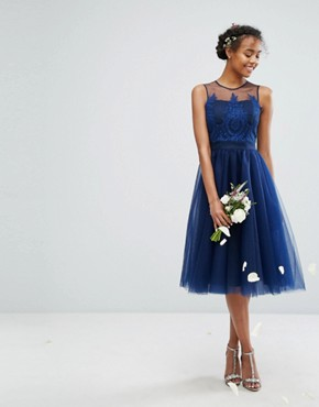 photo Embroidered Tulle Midi Dress with Button Back by Chi Chi London, color Navy - Image 2
